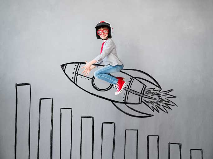 Girl on rocket drawn with marker