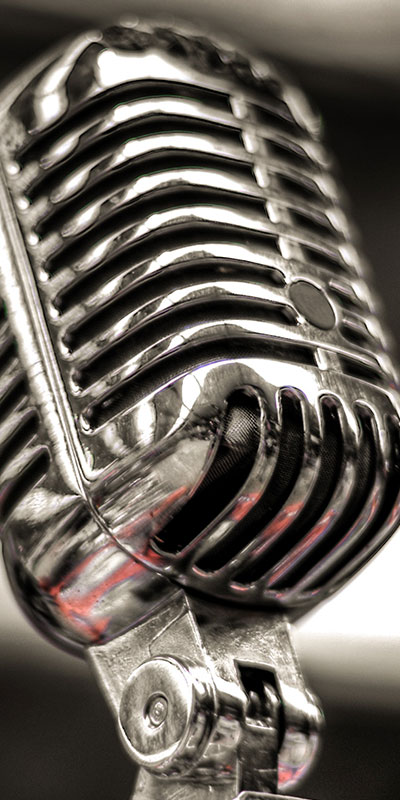 Close up of old microphone